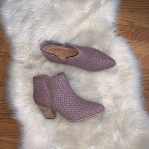 Frye Reed cutout woven Bootie taupe purple size 8